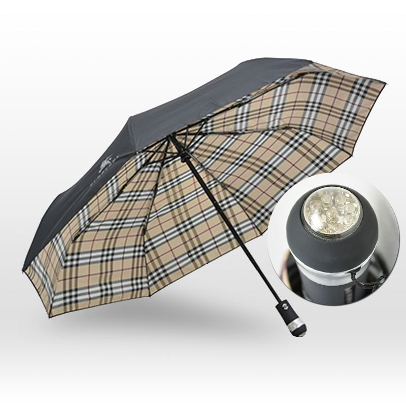 Business Gift Creative Flashlight Windproof Fold LED Umbrella handler