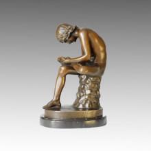 Estatua clásica Grecia Thorn-Puller Escultura de bronce TPE-158