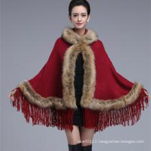 Ladies Fashion Acrylic Knitted Faux Fur Winter Fringe Shawl (YKY4458-1)
