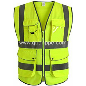 Vest men multi pocket reflective safety vest