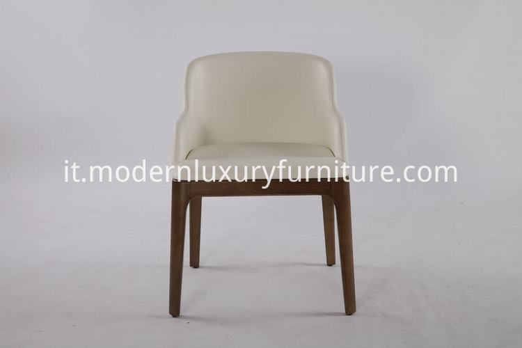 wooden frame leather dining chair