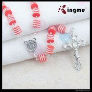 Resin Candy red with streaks body jewelry religious rosary