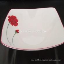 Elegante porcelana cuadrado tazón bowl cuadrado de sopa