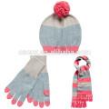 15STC4026 gros écharpe bonnet tricoté et ensembles de gants