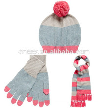 15STC4026 wholesale knitted scarf beanie and glove sets