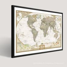 Moderne populäre Weltkarte Abstrakte Malerei Entwurf auf Segeltuch