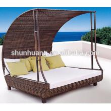 PE rattan garden furniture sunbed wicker comfortable lounge chaise