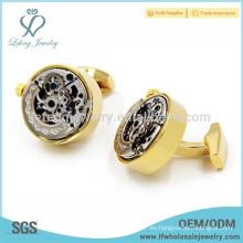 De moda de cobre chapado en oro mancuernas para hombres, diseño de reloj mancuernas