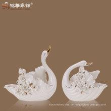 Home Dekoration Zubehör Porzellan Material Qualität Liebhaber Paar Schwan Statue