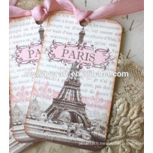 Lettre rectangulaire de bord rectangulaire et tour imprimable étiquettes de cadeau en papier rose avec trou découpé