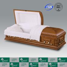 Caixão de caixão de madeira sólida de estilo americano por atacado para Funeral