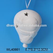 Hot vendendo porcelana branca cerâmica pendurado lanterna de natal com padrão de rena