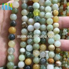 Perles en pierre bijoux ronde lisse Amazonite mélangé semi-précieuses pierres perles chaîne pour bijoux