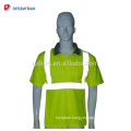 Wholesale Cheap High Visibility Mens Lightweight Breathable Polyester Polo T-Shirt Reflective Safety Work Wears With Pocket