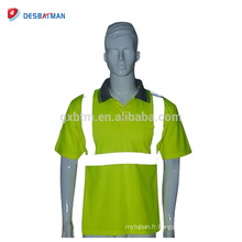 T-shirt de haute visibilité jaune de sécurité d'événement T-shirt de haute visibilité de jour / nuit de sécurité avec des bandes réfléchissantes