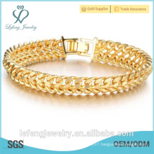 New Design 18K gold plated jewelry texture men's classic chain bracelet for wrist