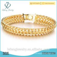 Novo Design 18K ouro chapeado bracelete de corrente dos homens da textura da jóia clássica para o pulso