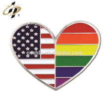 Free design custom metal silver enamel USA Heart Pin for Gay