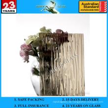 3-8mm Bronze Raindown Gemustertes Glas mit AS / NZS2208: 1996
