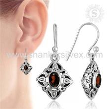 Heart-Warming Red Garnet Jewelry Sterling Silver Earring atacadista Silver Jewelry
