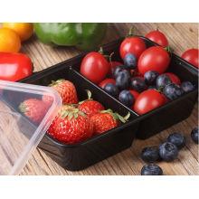 Envase de comida para llevar plástico disponible barato disponible de Microwavable del color negro