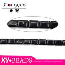 Haut Grade noir lâche rubis perles 12x18mm