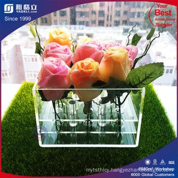 Luxury Romantic Clear While Black Acrylic Plastic Rose Flower Box
