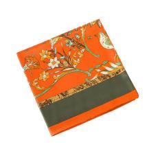 Chegada nova 130x130 cm lenço de seda mulheres multicolor flores e pássaros impressão imitação lenço de seda