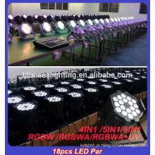 RGBW iluminação par led levou 18pcs 12w luz LED levou iluminação de palco