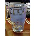 Taza de cristal caliente del vidrio del café del té de la venta con los vajilla de la etiqueta