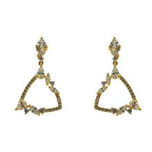 Boucles d'oreilles pendantes en argent sterling 925 avec or jaune