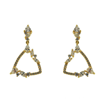 925 Sterling Silver Dangle Earrings with Yellow Gold