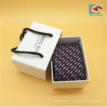 Boîte de haute qualité faite sur commande de cadeau de cravate de couleur blanche avec la corde
