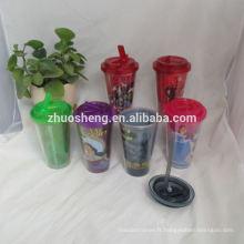 haute qualité belles tasses en plastique avec couvercle hermétique