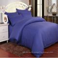 Stock Dark Blue Satin Stripe Bedding Comforter Cover Set for Hotel/Home (DPF1065)