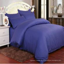 La cubierta azul oscura del edredón del lecho de la raya del satén para el hotel / el hogar (DPF1065)