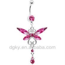 Pink Gem Dragonfly Drop Belly Ring