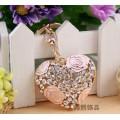 DIY Keychain Lady small gift ideas romantic Rhinestone hollow rose flower Heart key chain gold metal crystal keyring