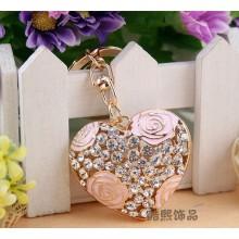 DIY idéias do presente pequeno chaveiro Lady romântico oco de strass rosa flor coração chaveiro ouro cristal chaveiro de metal