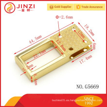 Uso superior manufactura níquel libre cuadrado metal bolsa accesorios mango