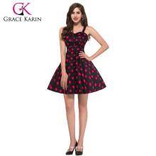 Los vestidos de la vendimia del algodón del patrón de la flor del Neckline del amor de Karin de la tolerancia CL6093-3 #