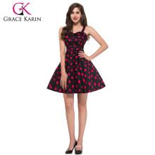 Grace Karin Sweetheart Neckline Flower Pattern Cotton Vintage 50's Dresses CL6093-3#