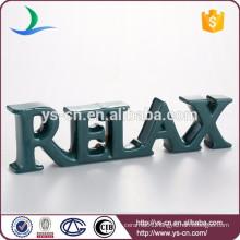 Wholesale glazed RELAX ceramic letter sign