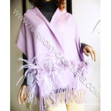 Cashmere Shawl with Rex Rabbit Trim and Ostrich Feather