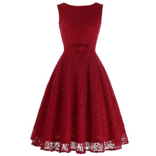 Belle Poque sin mangas de encaje V-Back A-Line Partido vestido de picnic Vestido de verano de mujer corto vestido de encaje rojo Retro BP000272-3