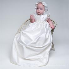 LSBB0003 cap sleeve flowers cap ruched satin floor length soft 6 month newborn baby dress