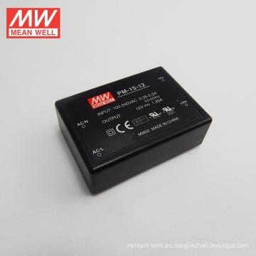 Mean Well Tipo de fuente de alimentación CA / CC Tipo de fuente de alimentación Tipo médico a bordo Tipo 15W 12V Salida única UL CUL CE CB PM-15-12