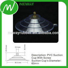 Thick 60mm PVC Threaded Suction Cup with Screw
