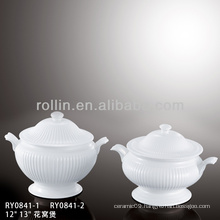 Hot sale porcelain soup tureen,stripe tureen for hotel and restaurant