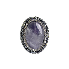Фиолетовый 25 * 20мм природный камень Gemstone ювелирные изделия из бисера